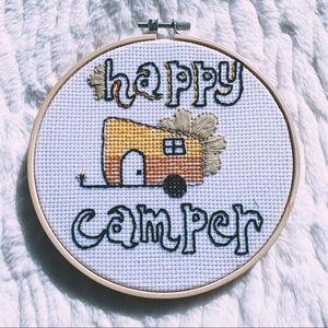 Happy Camper Retro Cross Stitch Hoop